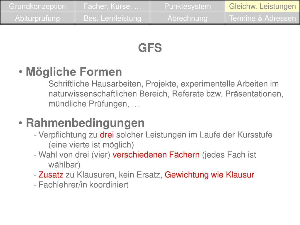 GFS Mögliche Formen Rahmenbedingungen