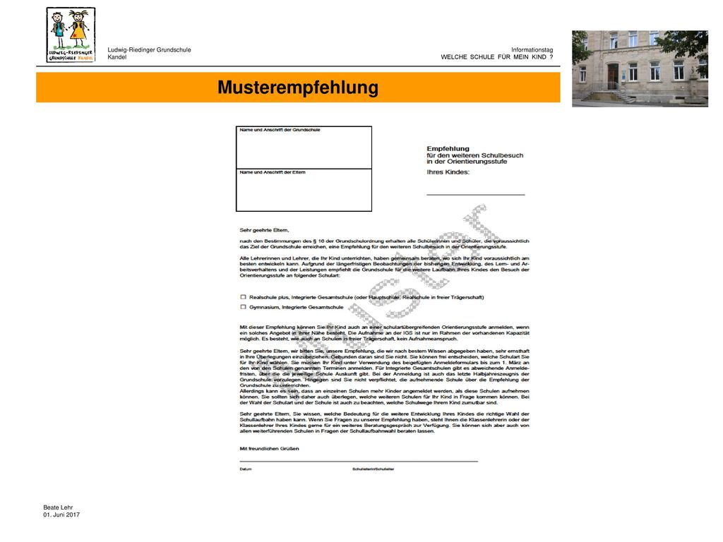 Musterempfehlung