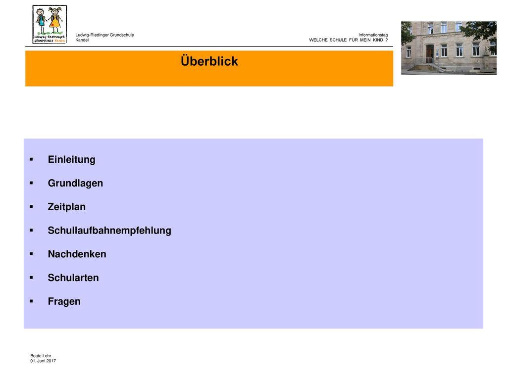 Überblick Einleitung Grundlagen Zeitplan Schullaufbahnempfehlung