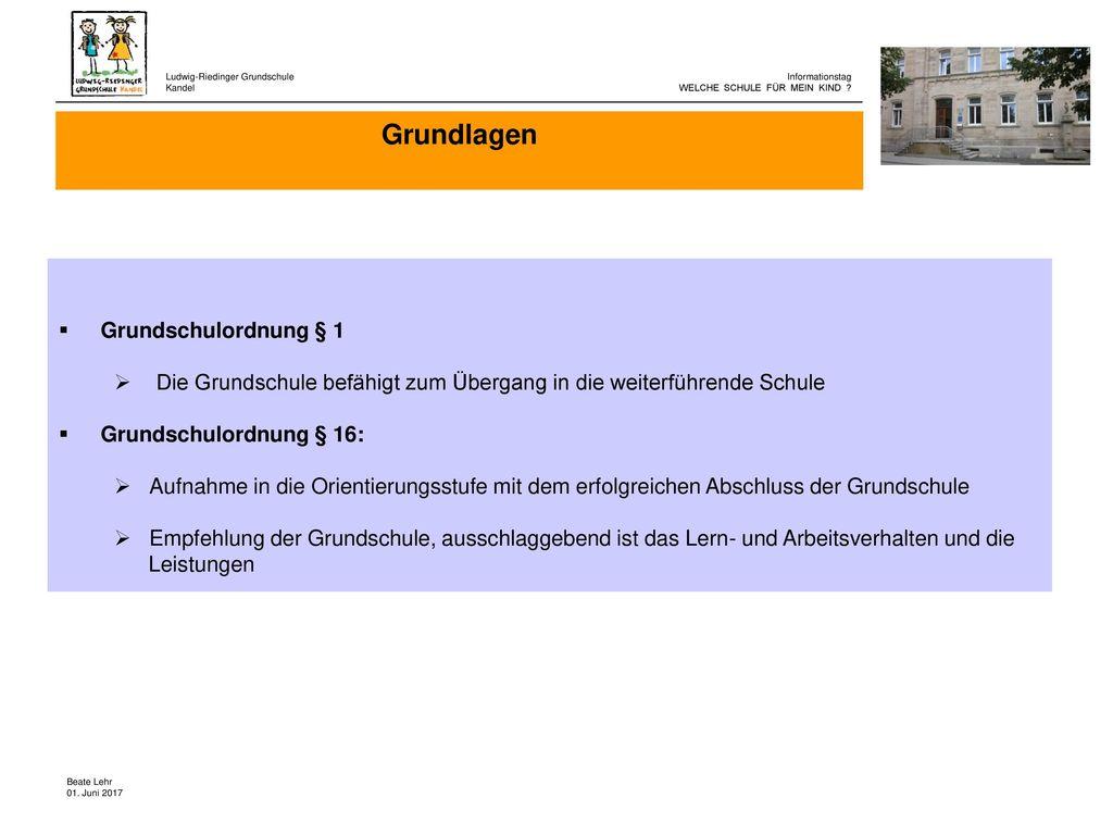 Grundlagen Grundschulordnung § 1