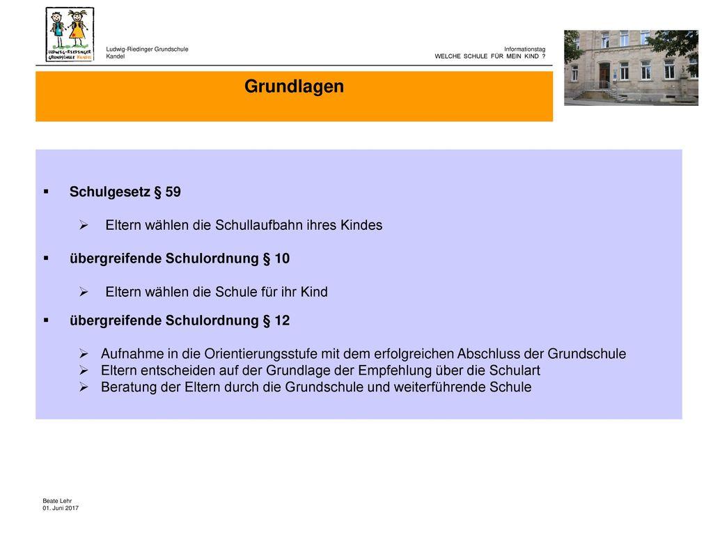 Grundlagen Schulgesetz § 59