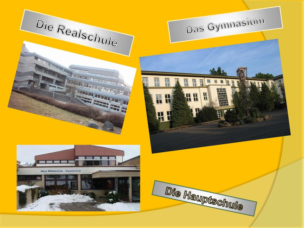 Das Gymnasium Die Realschule Die Hauptschule