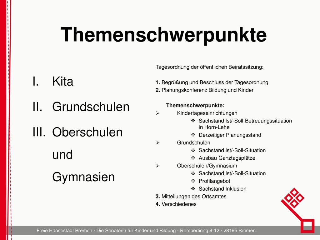 Themenschwerpunkte Kita Grundschulen Oberschulen und Gymnasien