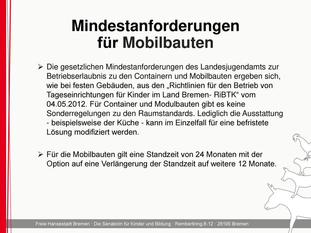 Mindestanforderungen für Mobilbauten