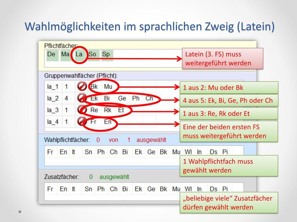 Wahlmöglichkeiten im sprachlichen Zweig (Latein)