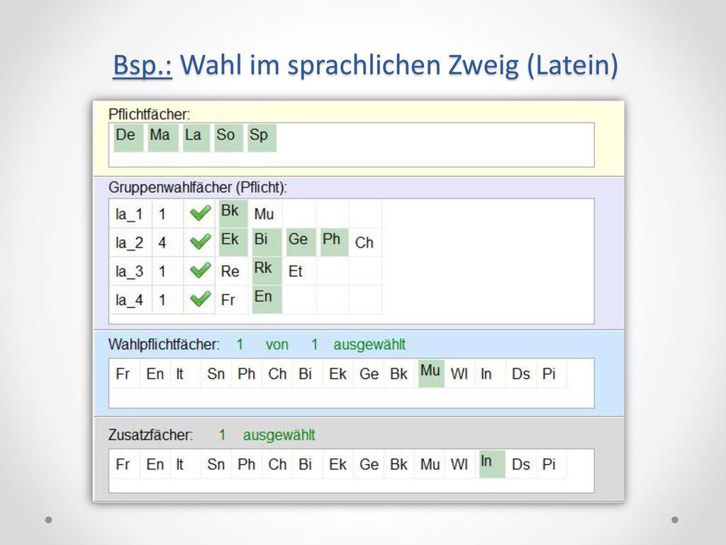 Bsp.: Wahl im sprachlichen Zweig (Latein)