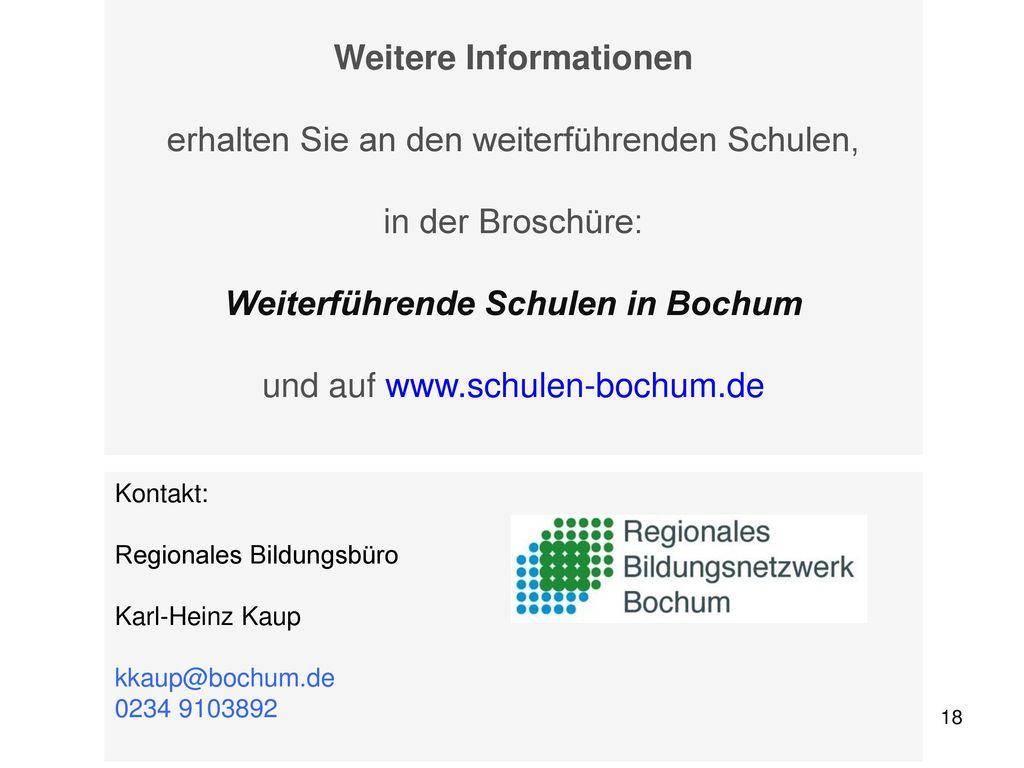 Weitere Informationen Weiterführende Schulen in Bochum