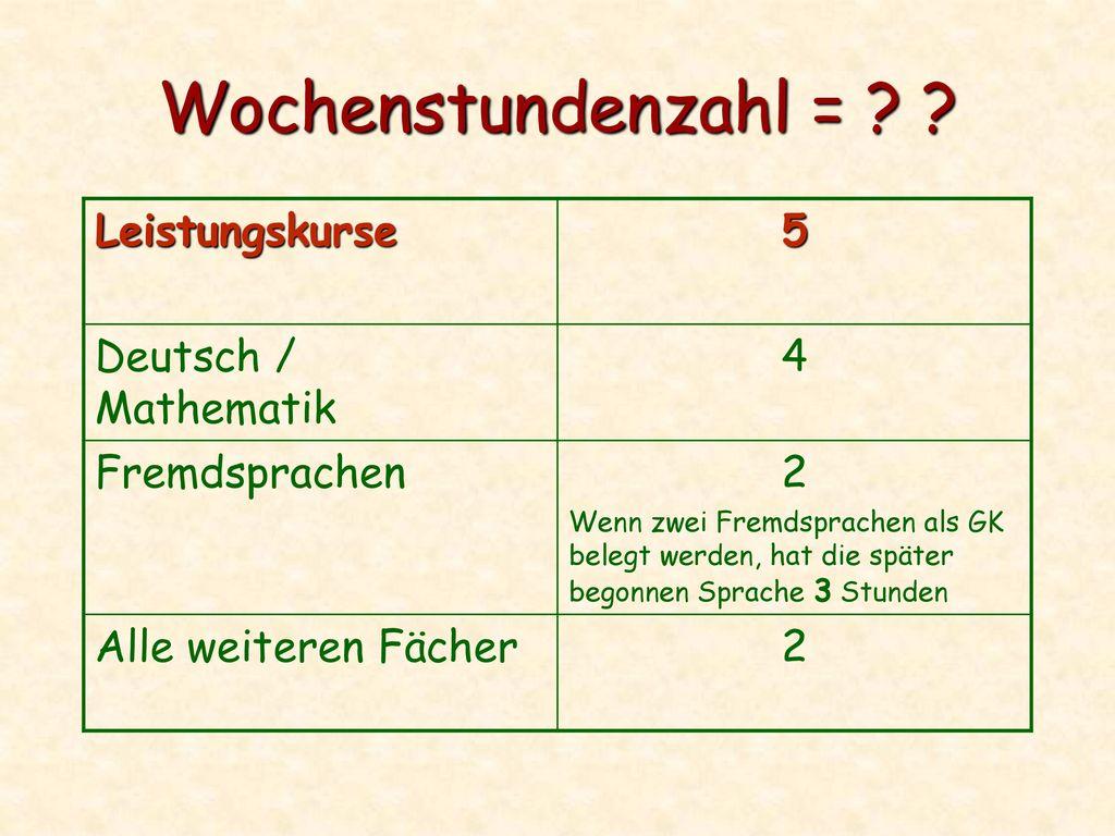 Wochenstundenzahl = Leistungskurse 5 Deutsch / Mathematik 4
