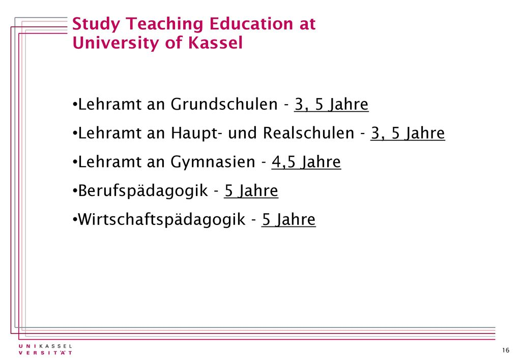 Study Teaching Education at University of Kassel