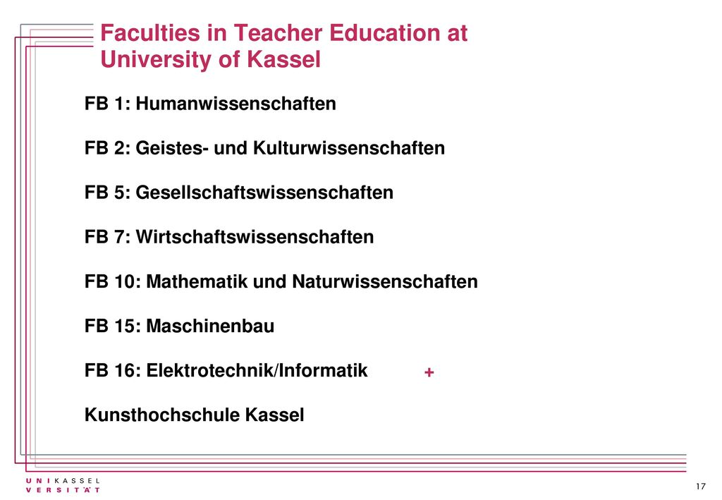 Faculties in Teacher Education at University of Kassel