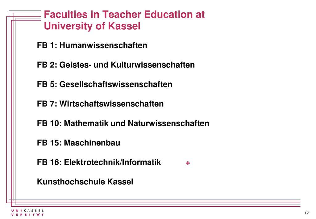 Faculties in Teacher Education at University of Kassel