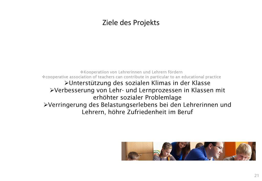 Ziele des Projekts Unterstützung des sozialen Klimas in der Klasse