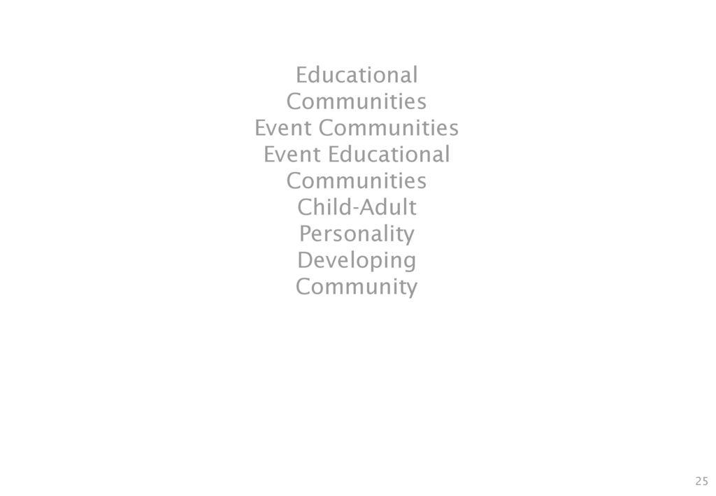 Educational Communities Event Communities Event Educational Communities Child-Adult Personality Developing Community