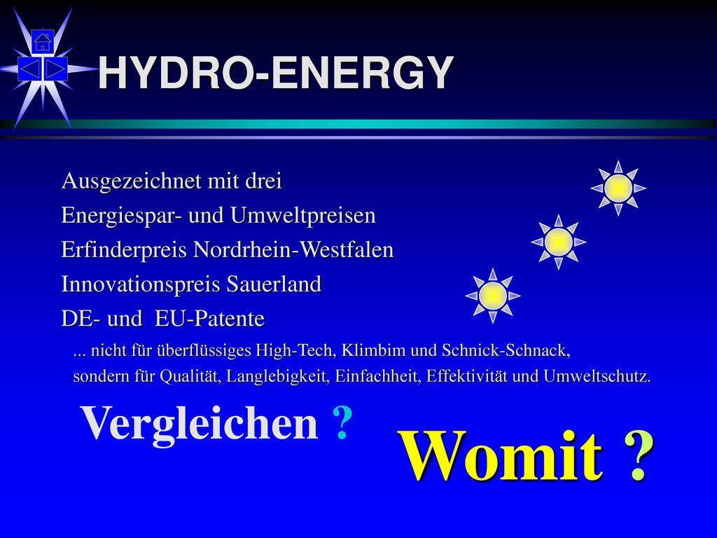 Womit Vergleichen HYDRO-ENERGY Ausgezeichnet mit drei