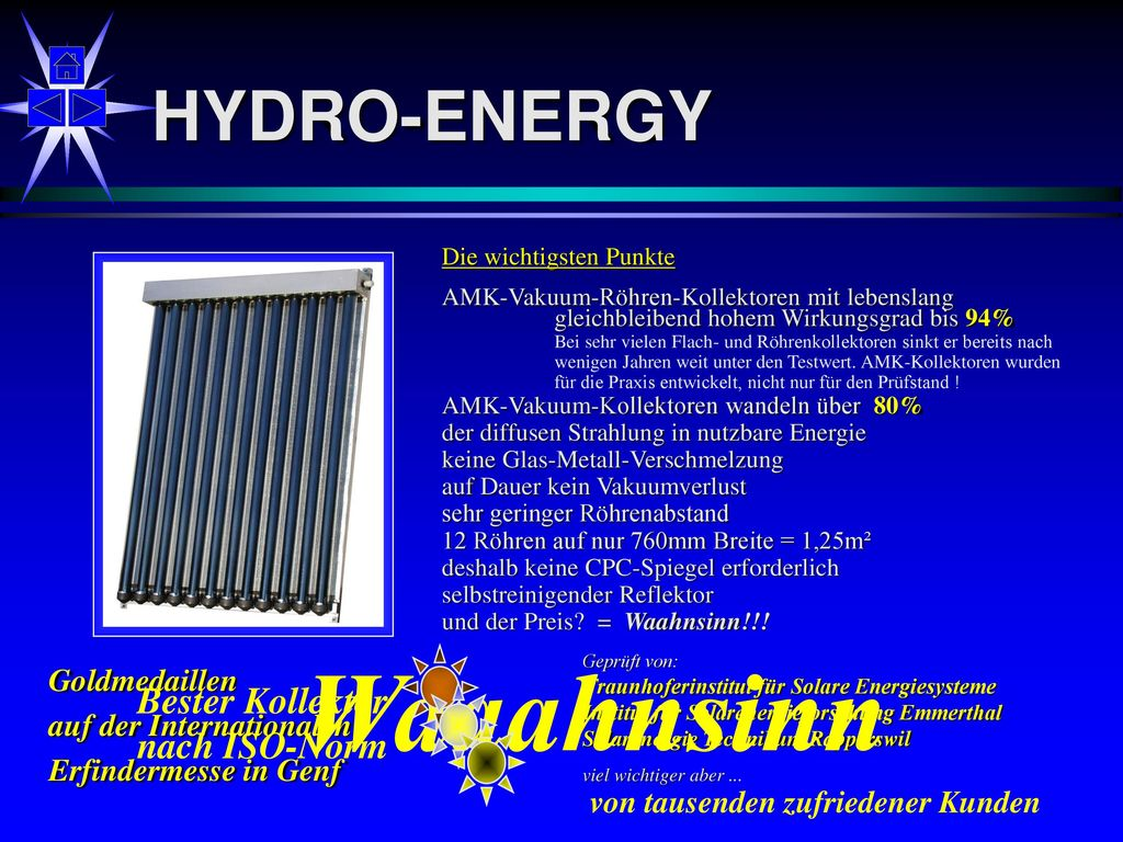 Waaahnsinn HYDRO-ENERGY Bester Kollektor nach ISO-Norm Goldmedaillen