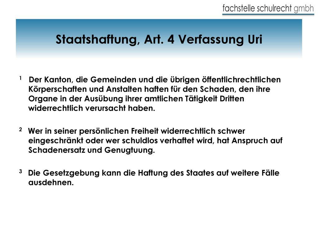 Staatshaftung, Art. 4 Verfassung Uri