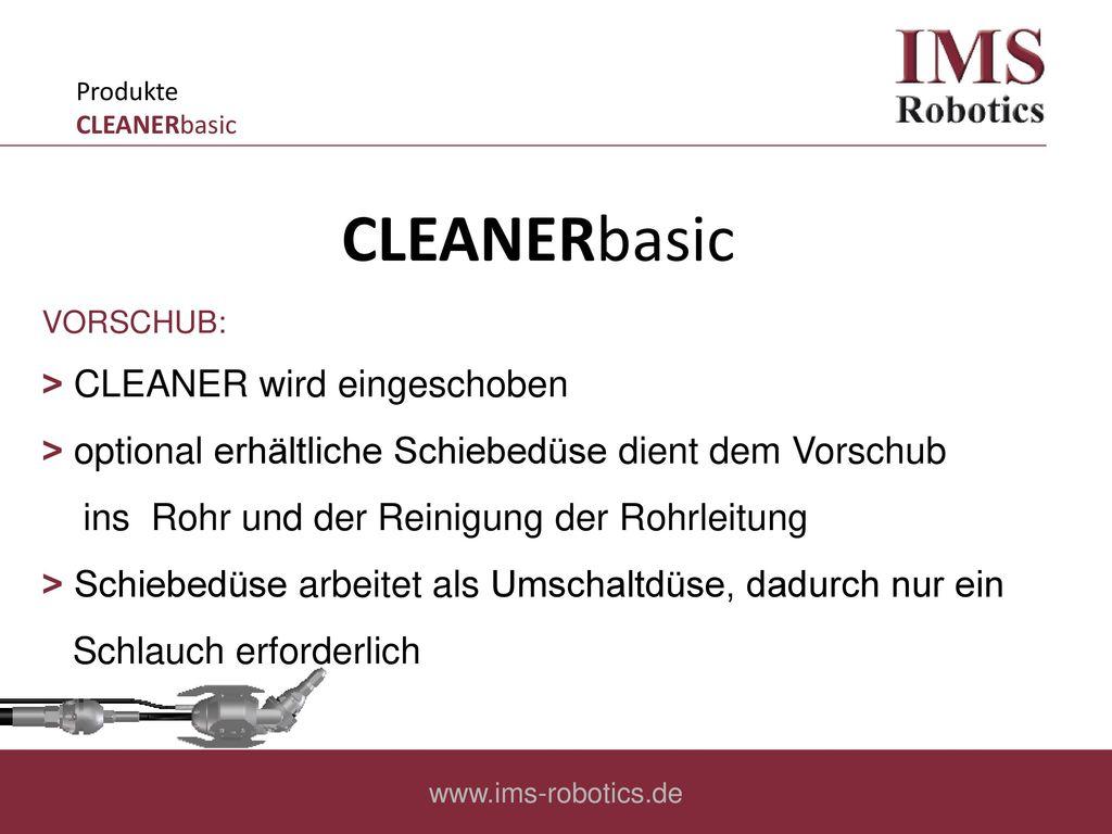 CLEANERbasic ˃ CLEANER wird eingeschoben