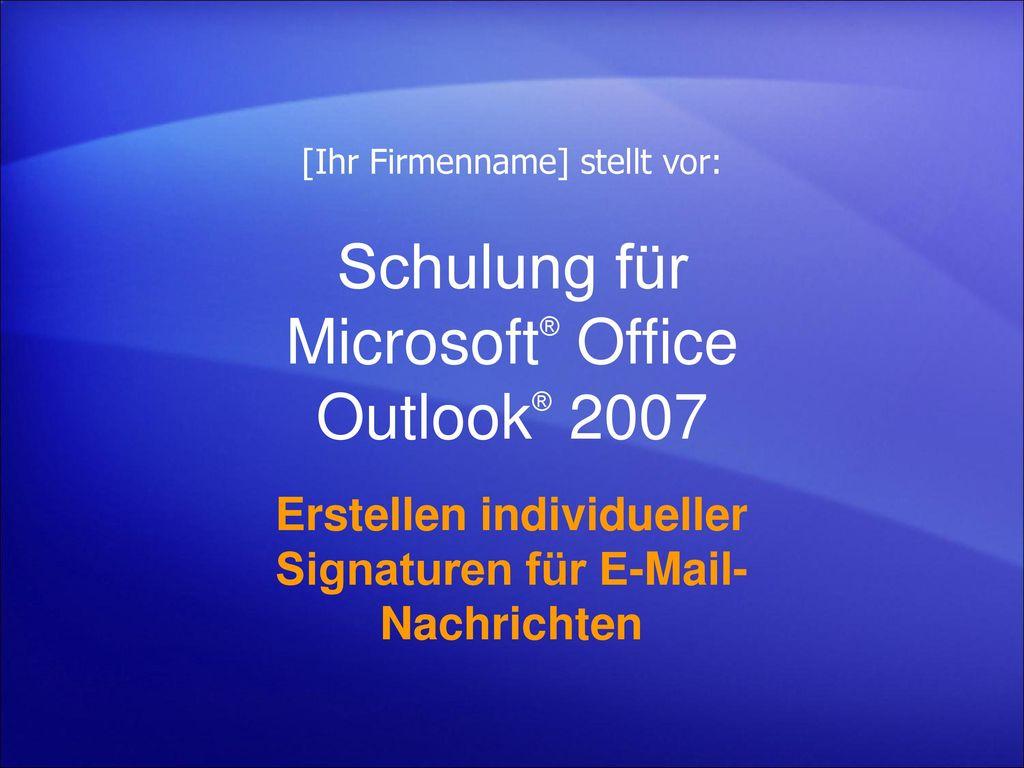 Schulung für Microsoft® Office Outlook® 2007
