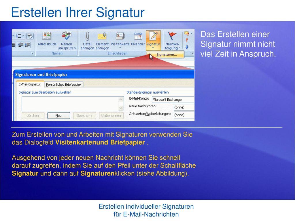 Erstellen Ihrer Signatur