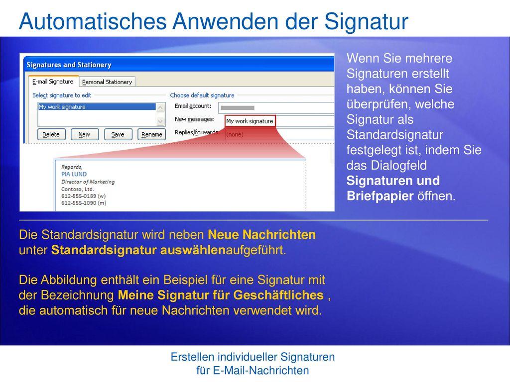 Automatisches Anwenden der Signatur