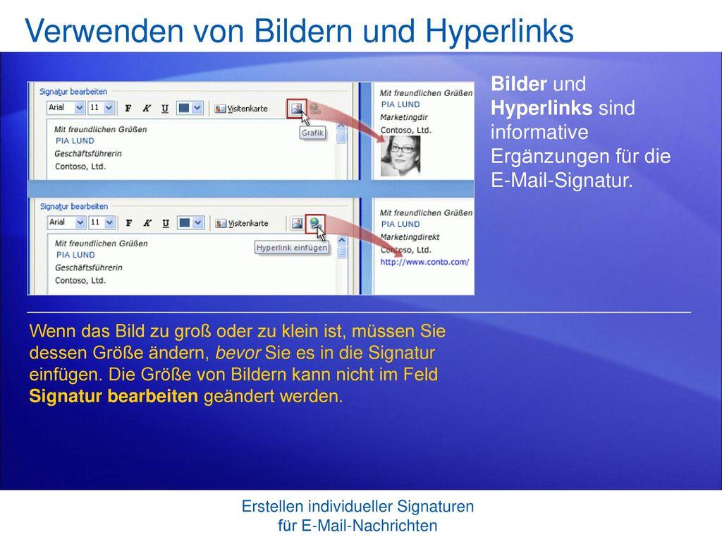 Verwenden von Bildern und Hyperlinks