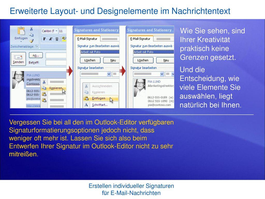 Erweiterte Layout- und Designelemente im Nachrichtentext