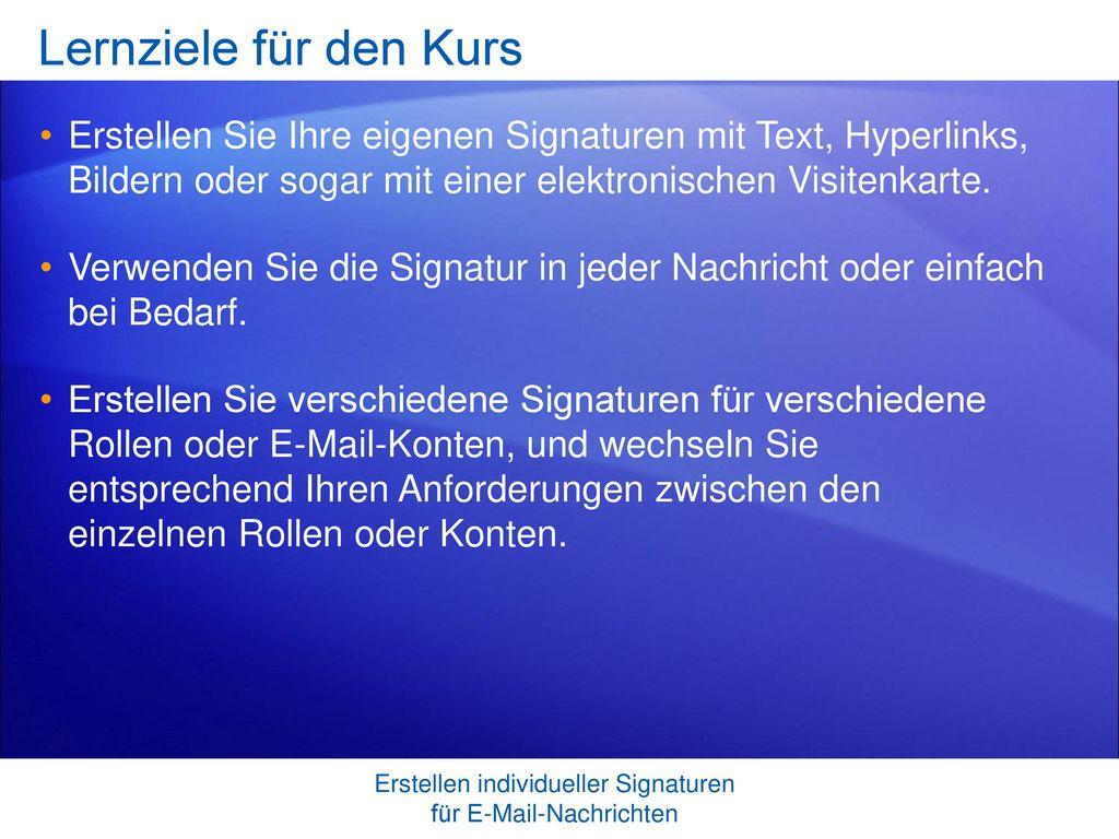 Erstellen individueller Signaturen für E-Mail-Nachrichten