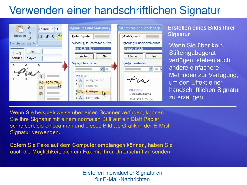 Verwenden einer handschriftlichen Signatur