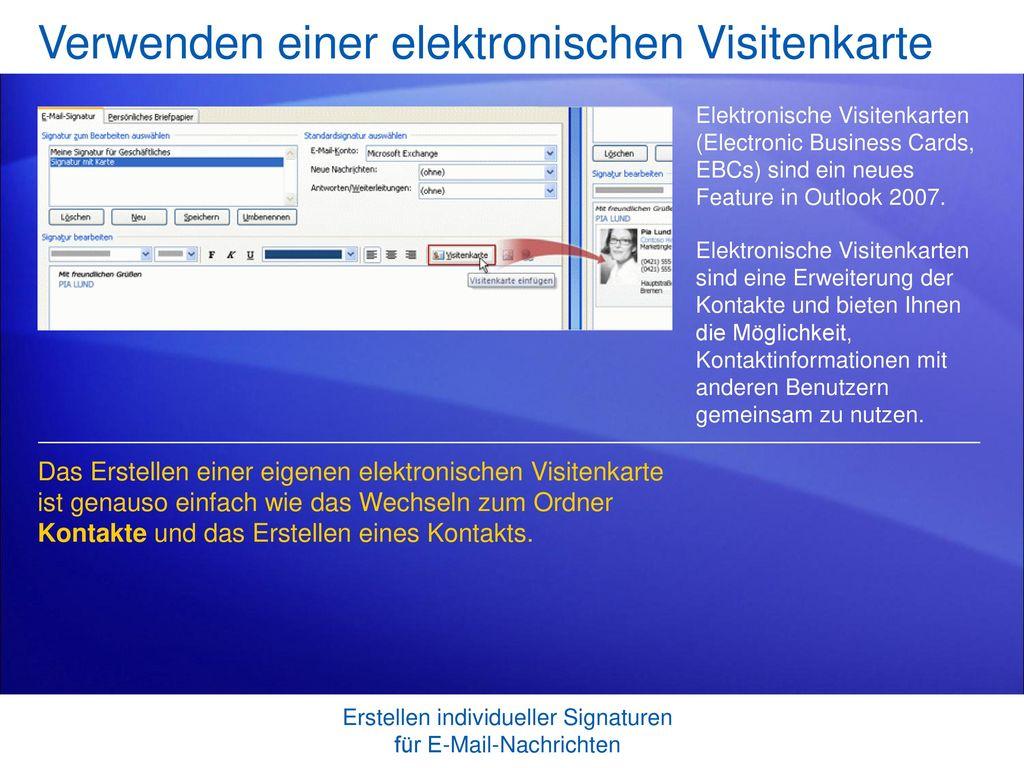 Verwenden einer elektronischen Visitenkarte