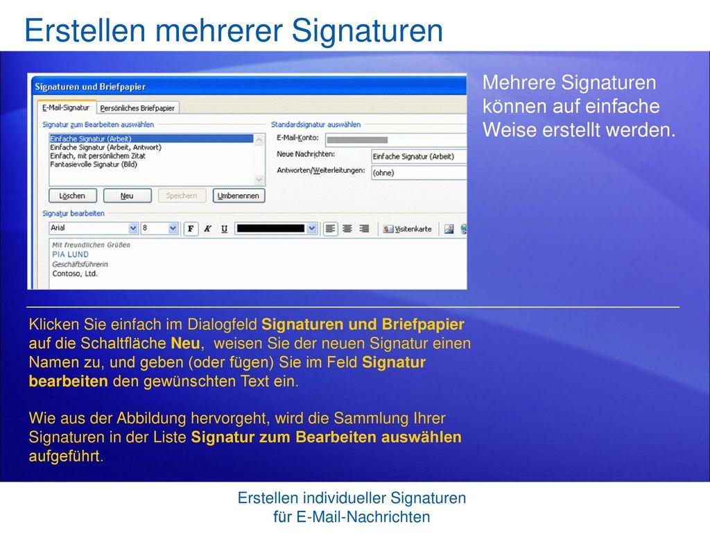 Erstellen mehrerer Signaturen