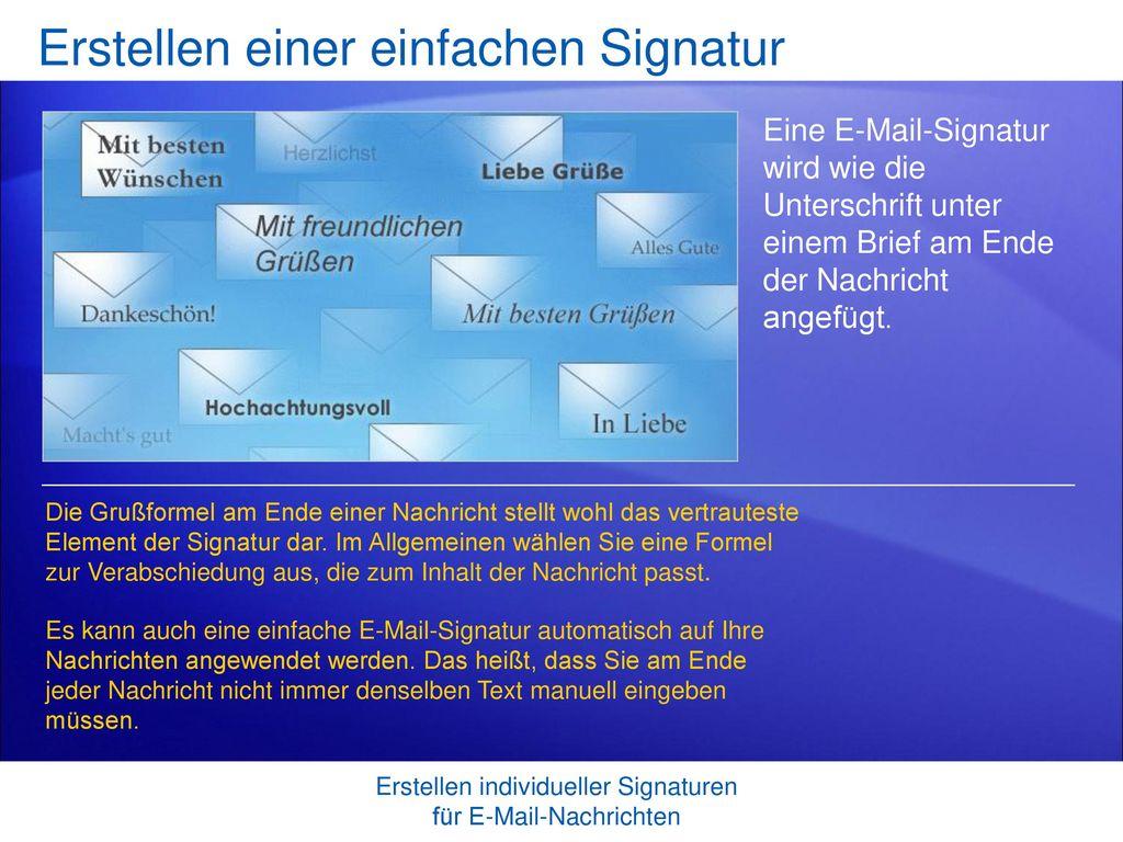 Erstellen einer einfachen Signatur