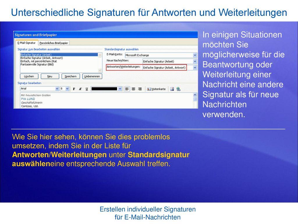 Unterschiedliche Signaturen für Antworten und Weiterleitungen