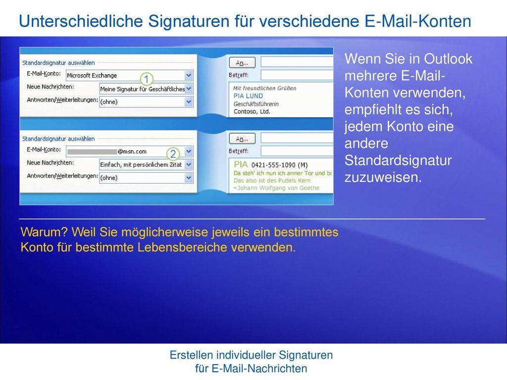 Unterschiedliche Signaturen für verschiedene E-Mail-Konten