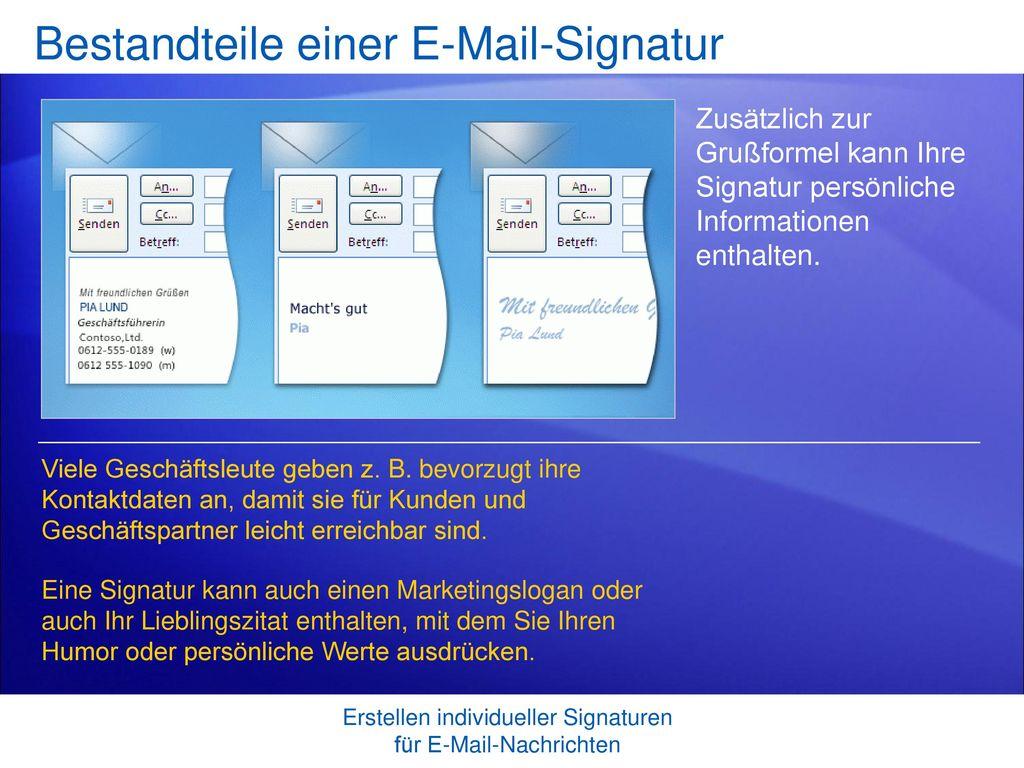 Bestandteile einer E-Mail-Signatur