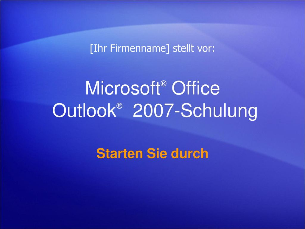 Microsoft® Office Outlook® 2007-Schulung