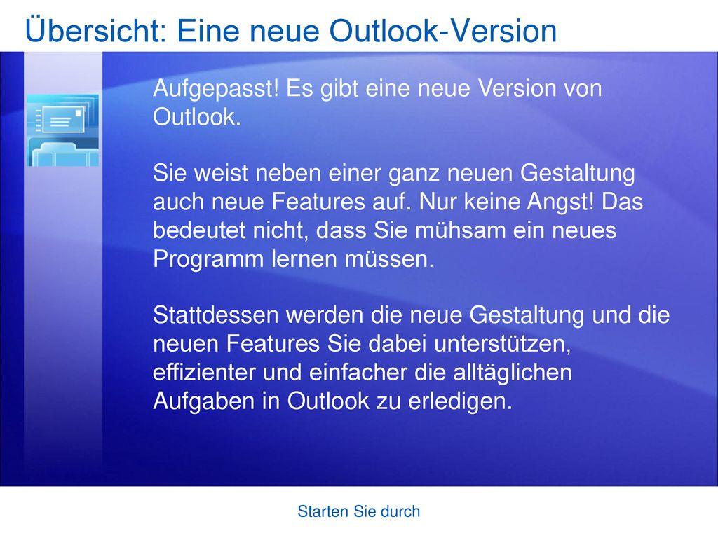 Übersicht: Eine neue Outlook-Version