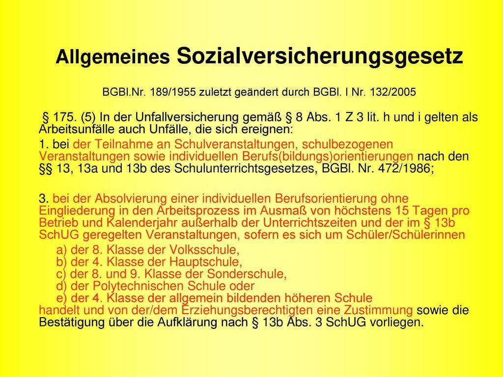 Allgemeines Sozialversicherungsgesetz BGBl. Nr