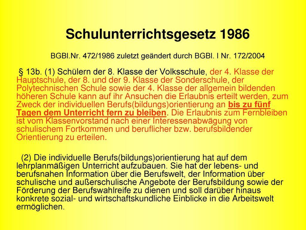 Schulunterrichtsgesetz 1986 BGBl. Nr