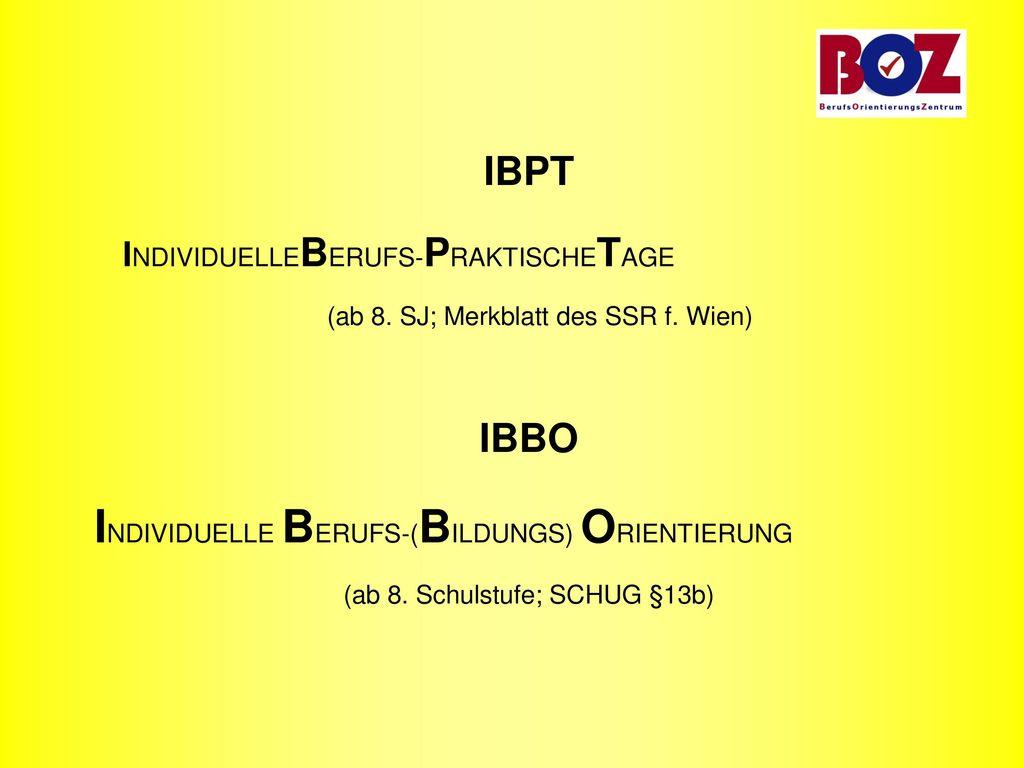 IBPT IBBO INDIVIDUELLEBERUFS-PRAKTISCHETAGE