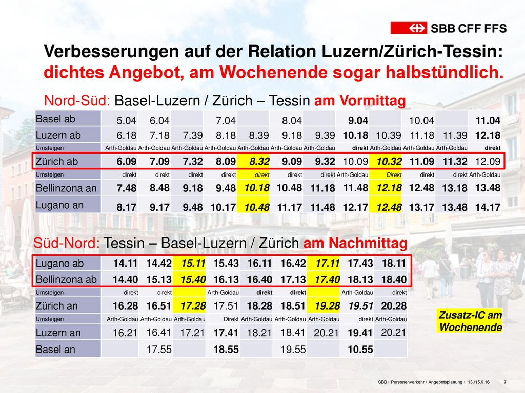 Verbesserungen auf der Relation Luzern/Zürich-Tessin: dichtes Angebot, am Wochenende sogar halbstündlich.