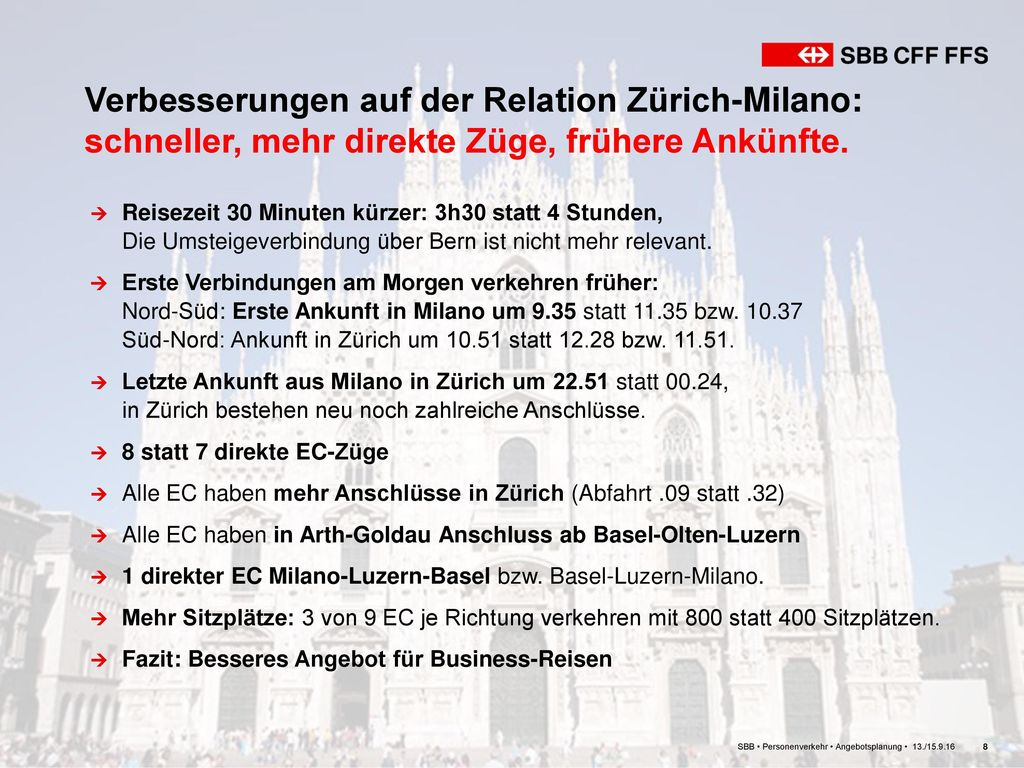 Verbesserungen auf der Relation Zürich-Milano: schneller, mehr direkte Züge, frühere Ankünfte.