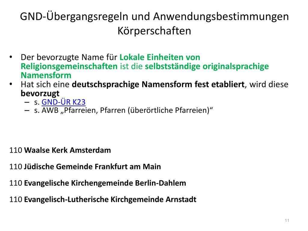 GND-Übergangsregeln und Anwendungsbestimmungen Körperschaften