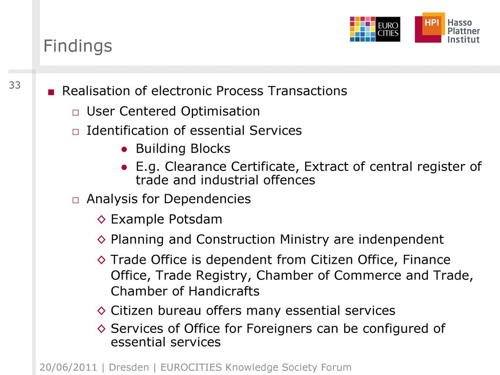 Findings Realisation of electronic Process Transactions