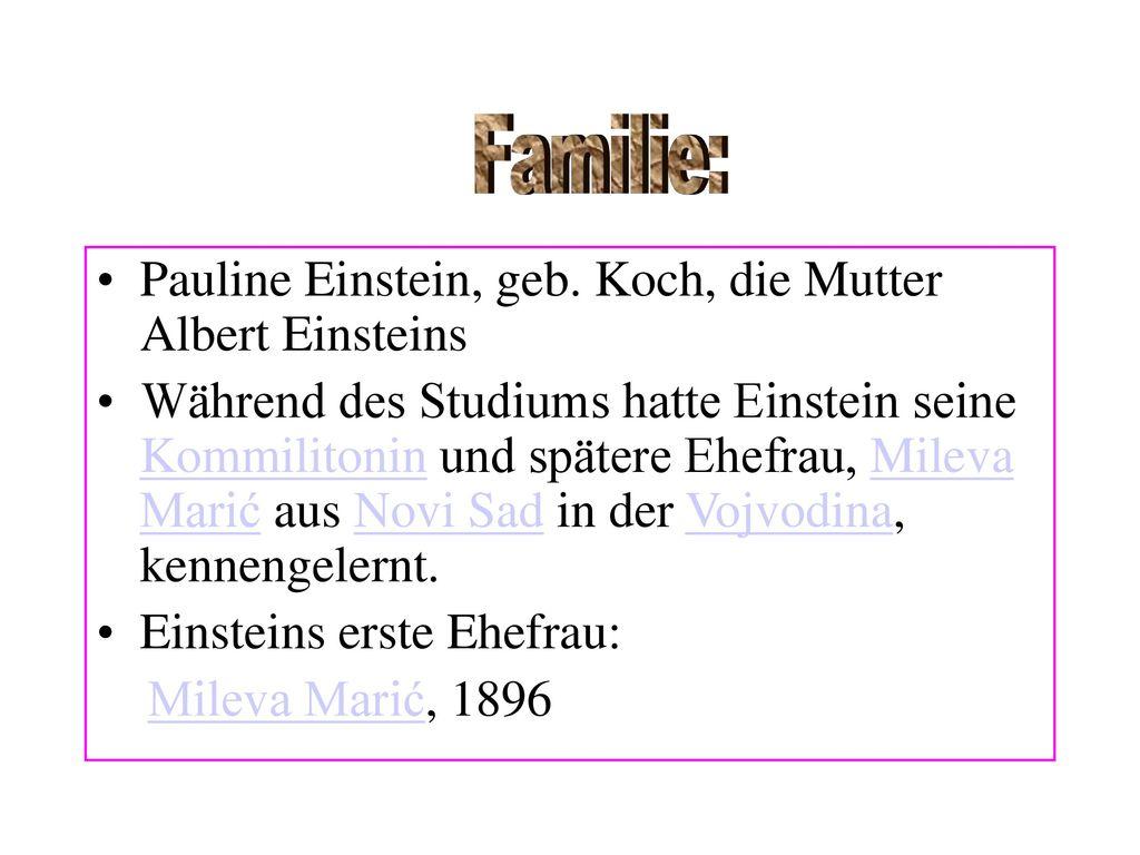 Familie: Pauline Einstein, geb. Koch, die Mutter Albert Einsteins