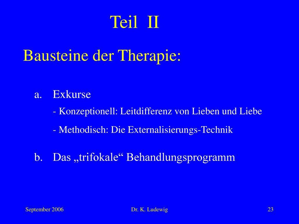 Teil II Bausteine der Therapie: a. Exkurse
