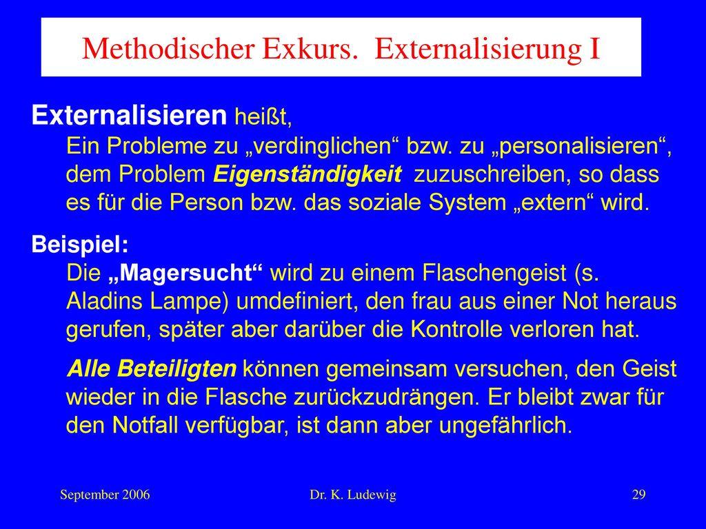Methodischer Exkurs. Externalisierung I