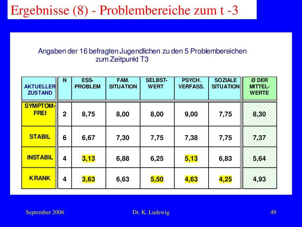 Ergebnisse (8) - Problembereiche zum t -3