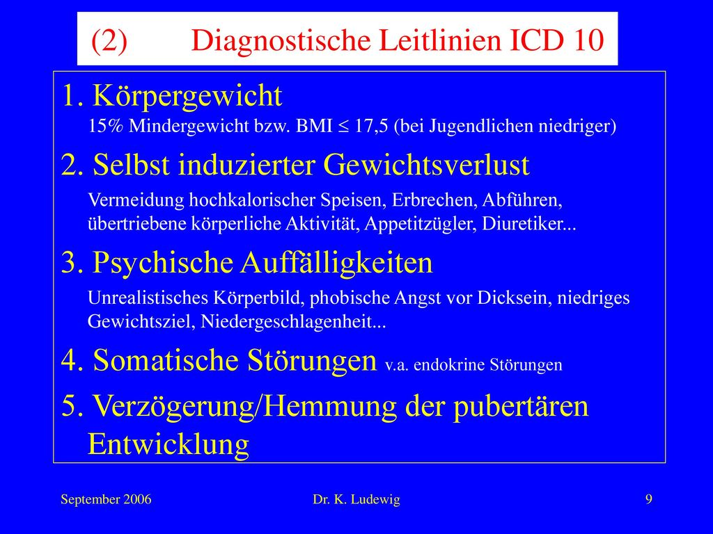 (2) Diagnostische Leitlinien ICD 10