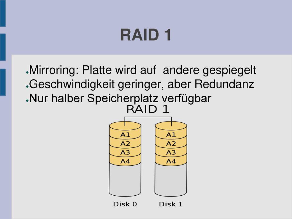 RAID 1 Mirroring: Platte wird auf andere gespiegelt