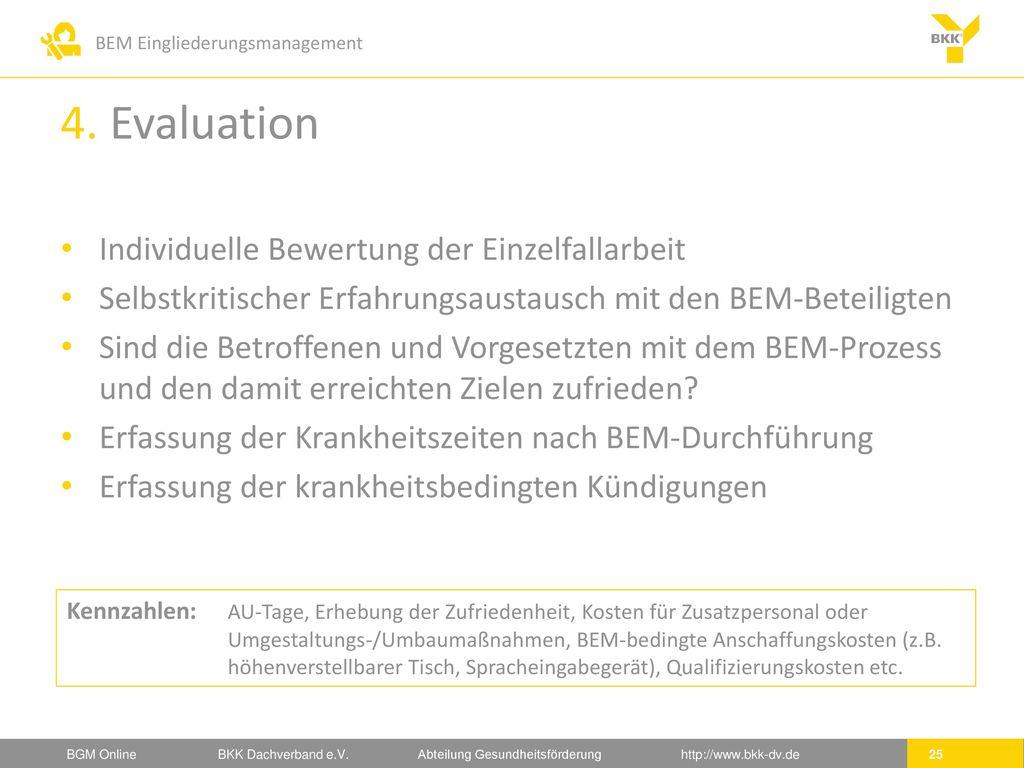 4. Evaluation Individuelle Bewertung der Einzelfallarbeit
